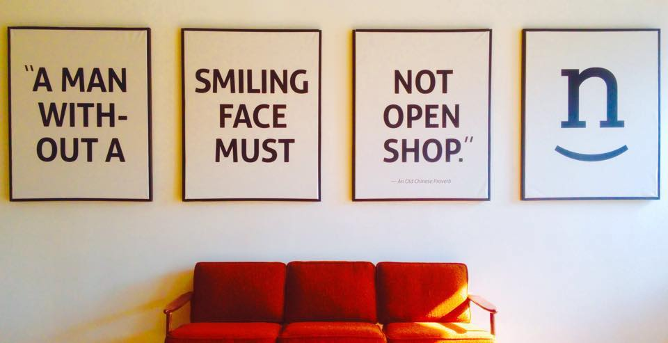 A man without a smiling face must not open shop.