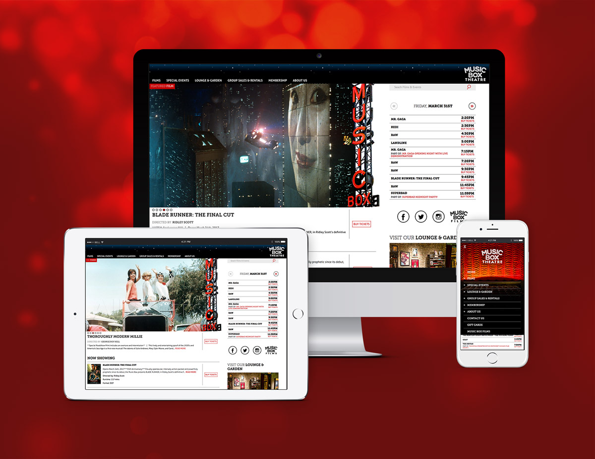 Music Box Theatre website on mobile, tablet and desktop devices.