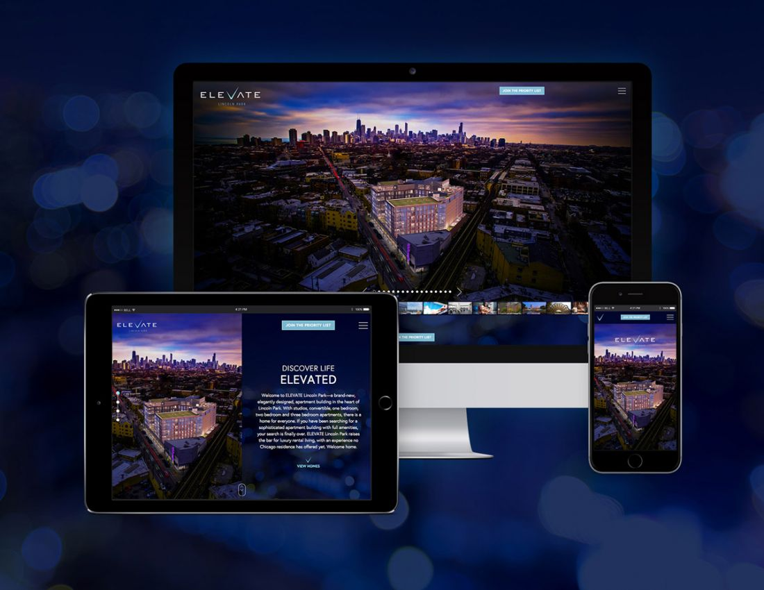 ELEVATE Lincoln Park website shown on desktop, tablet and mobile devices.