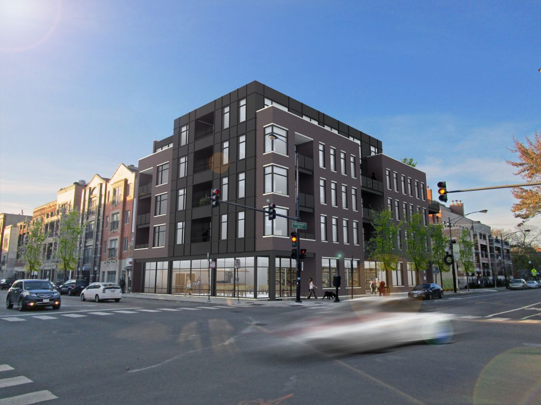 Luxury apartment building rendering at corner of Southport and Belmont
