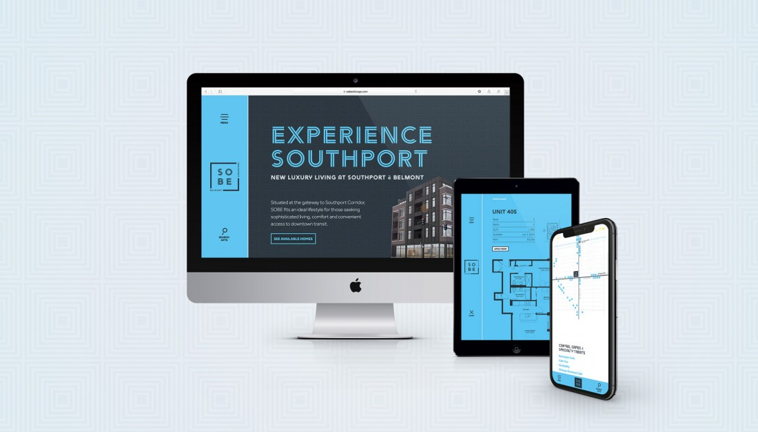 SOBE Chicago Apartments Website in Desktop, Tablet and Mobile Configurations