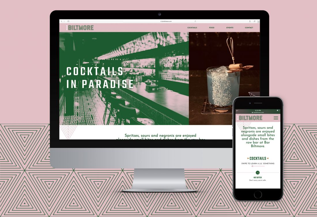 Bar Biltmore website home page on desktop and mobile devices