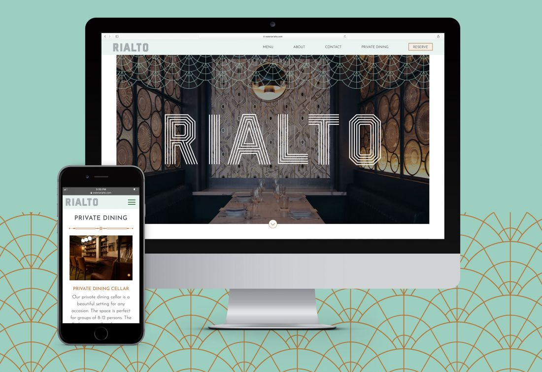 Osteria Rialto restaurant website home page on desktop and mobile devices