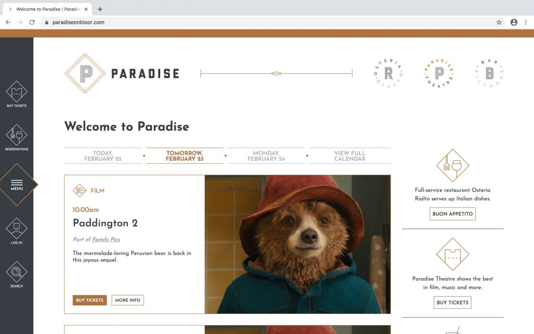 Home page of the Paradise Theatre website