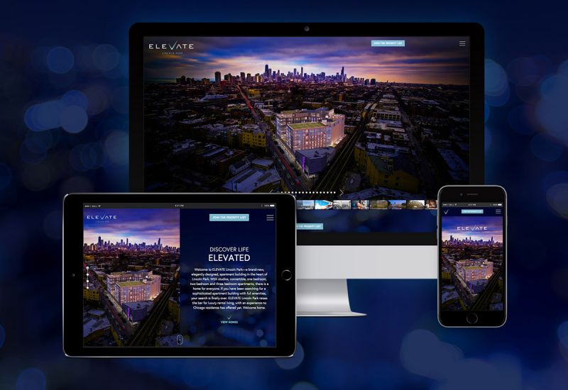 ELEVATE Lincoln Park luxury apartment website on mobile, tablet and desktop devices.