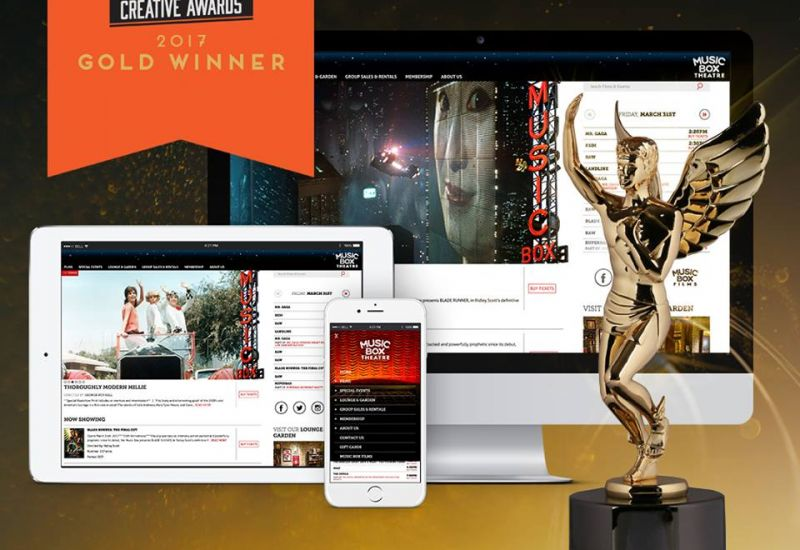 Music Box Theatre Website wins Gold in the 2017 Hermes Creative Awards